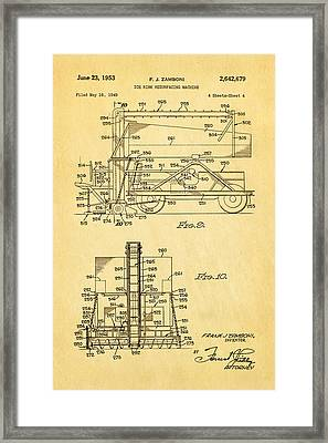 Zamboni Ice Rink Resurfacing Patent Art 2 1953  Framed Print