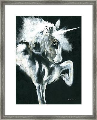 Framed Print featuring the painting Unicorn by Barbie Batson