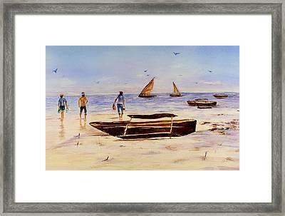 Framed Print featuring the painting Zanzibar Forzani Beach by Sher Nasser