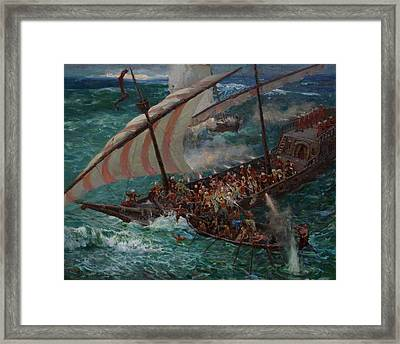 Zaporozhye Cossacks Boarded The Turkish Ship Framed Print by Korobkin Anatoly