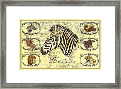 Zebra African Map Heads Framed Print