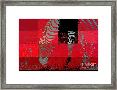Zebra Art - Red Rsp02 Framed Print by Variance Collections