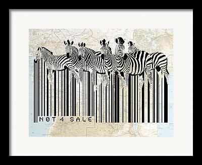 Zebra Digital Art Framed Prints