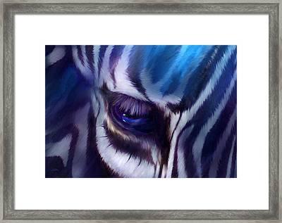 Zebra Blue Framed Print