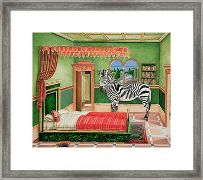 Zebra In A Bedroom, 1996 Framed Print by Anthony Southcombe