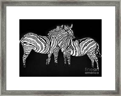Zebra Love 1 Framed Print by Karen Larter
