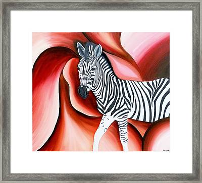 Zebra - Oil Painting Framed Print by Rejeena Niaz