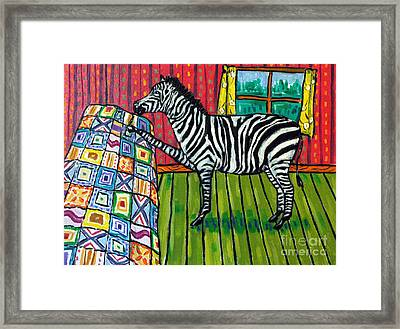 Zebra Quilting Framed Print by Jay  Schmetz