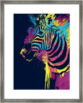 Zebra Splatters Framed Print by Olga Shvartsur