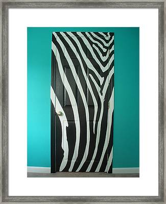 Zebra Stripe Mural - Door Number 1 Framed Print by Sean Connolly