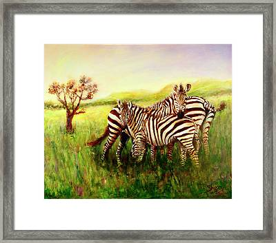 Zebras At Ngorongoro Crater Framed Print by Sher Nasser