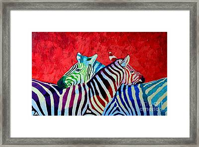 Zebras In Love  Framed Print by Ana Maria Edulescu
