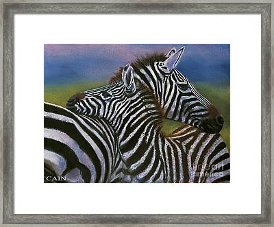 Zebras In Love Giclee Print Framed Print
