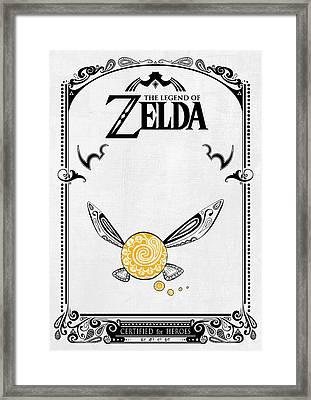 Zelda Legend - Fairy Navi Doodle Framed Print by Art Et Be