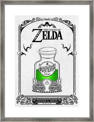 Zelda Legend - Magic Potion Framed Print by Art Et Be