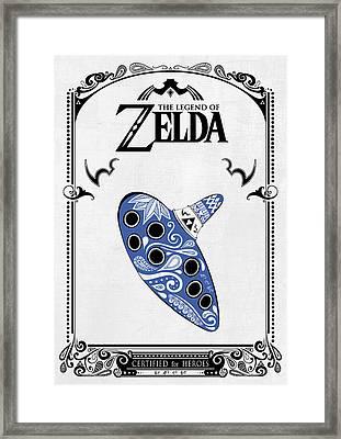Zelda Legend - Ocarina Doodle Framed Print by Art Et Be