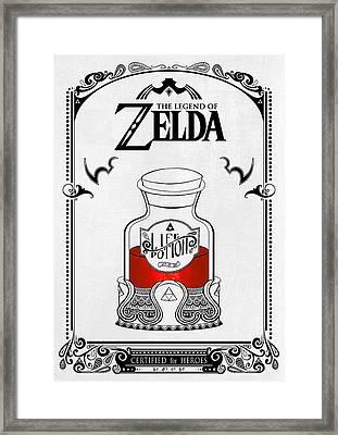Zelda Legend - Red Potion Framed Print by Art Et Be