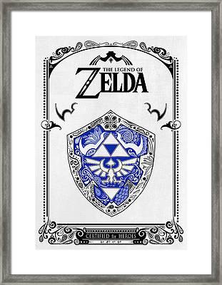 Zelda Legend - Shield Framed Print by Art Et Be