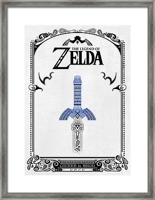 Zelda Legend - Sword Doodle Framed Print by Art Et Be