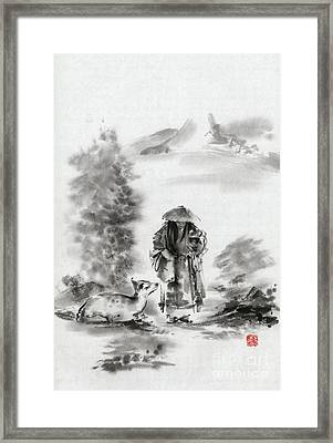 Zen Art  Buddhist Monk Mountains Landscape Framed Print by Mariusz Szmerdt