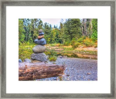 Framed Print featuring the photograph Zen Balanced Stones On A Tree by Eti Reid