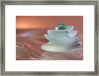 Zen Beach Glass Framed Print
