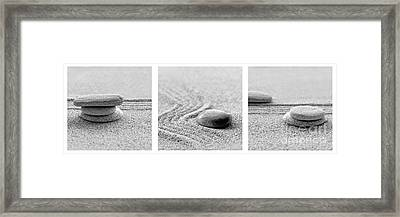 Zen Black And White Triptych Framed Print by Delphimages Photo Creations