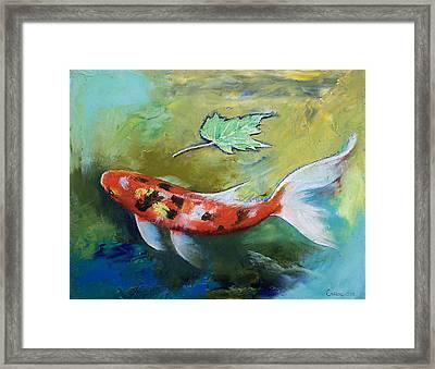 Zen Butterfly Koi Framed Print by Michael Creese