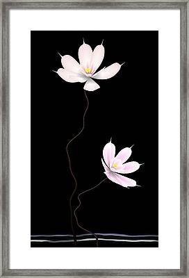 Zen Flower Twins With A Black Background Framed Print by GuoJun Pan