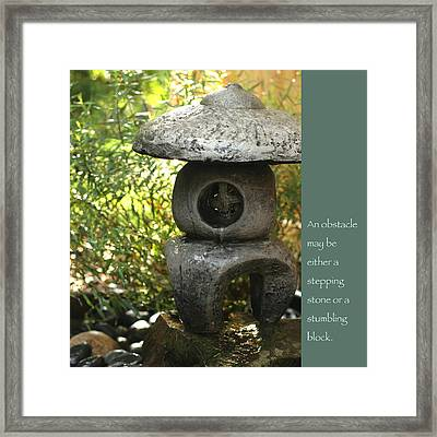 Zen Garden With Quote Framed Print by Heidi Hermes