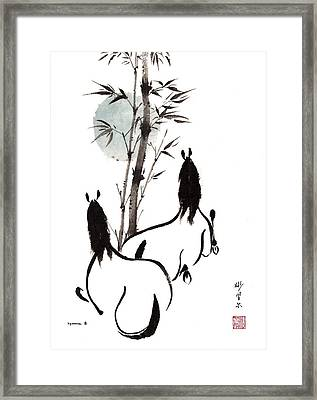 Framed Print featuring the painting Zen Horses Moon Reverence by Bill Searle