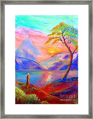 Flying Swan, Zen Moment Framed Print by Jane Small