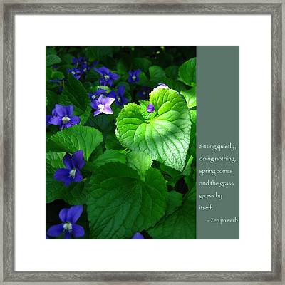 Zen Proverb With Violets Framed Print by Heidi Hermes