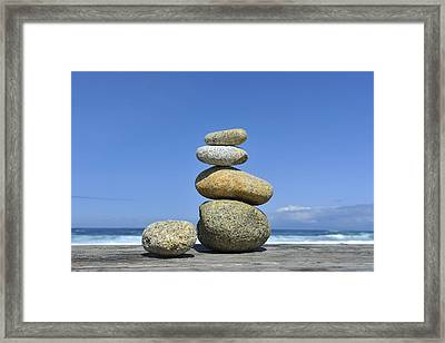 Framed Print featuring the photograph Zen Stones I by Marianne Campolongo