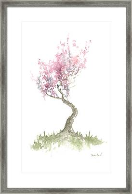 Framed Print featuring the painting Zen Tree In Spring by Sean Seal