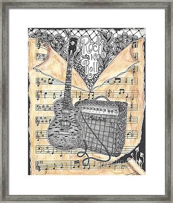 Zentange Inspired Guitar Framed Print