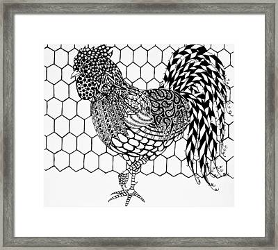 Zentangle Rooster Framed Print by Jani Freimann