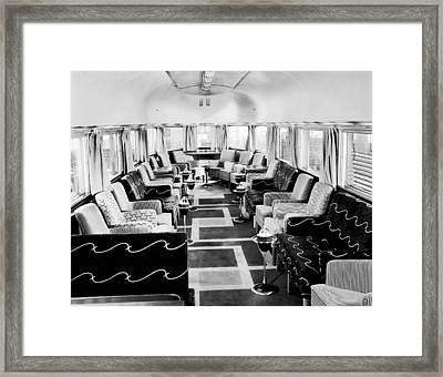 Zephyr Art Deco Lounge Car Framed Print by Underwood Archives