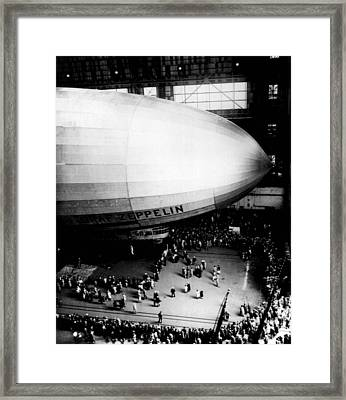 Zeppelin Gets A Crowd Framed Print by Retro Images Archive