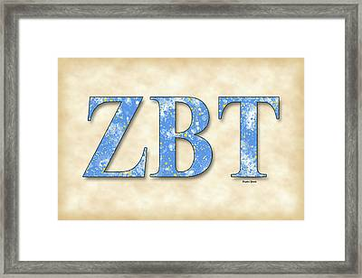 Zeta Beta Tau - Parchment Framed Print