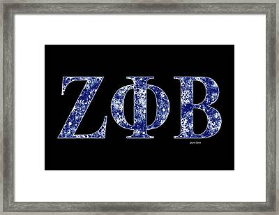 Framed Print featuring the digital art Zeta Phi Beta - Black by Stephen Younts