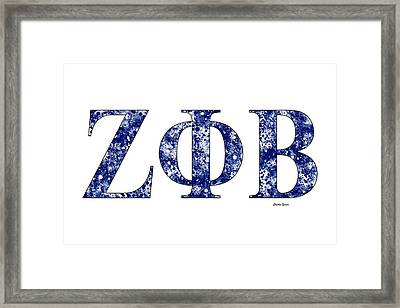 Framed Print featuring the digital art Zeta Phi Beta - White by Stephen Younts