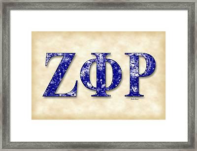 Zeta Phi Rho - Parchment Framed Print