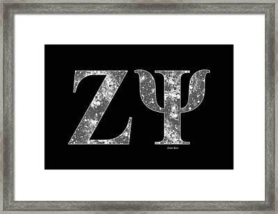 Framed Print featuring the digital art Zeta Psi - Black by Stephen Younts