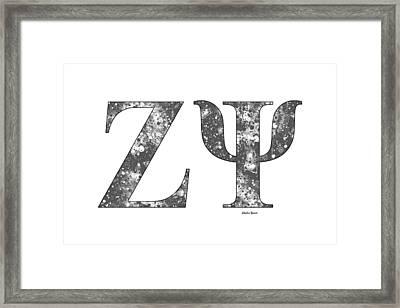 Zeta Psi - White Framed Print