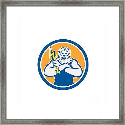 Zeus Greek God Arms Cross Thunderbollt Circle Retro Framed Print by Aloysius Patrimonio