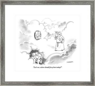 Zeus Plays Darts Framed Print by Pat Byrnes