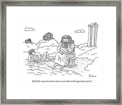 Zeus Speaks Gloomily To Hermes By A Pond Framed Print