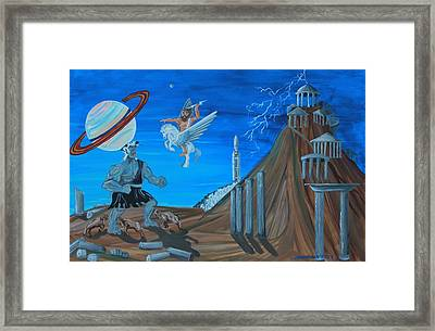 Zeus Versus The Titans Framed Print by Mike Nahorniak