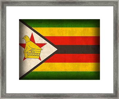 Zimbabwe Flag Distressed Vintage Finish Framed Print by Design Turnpike
